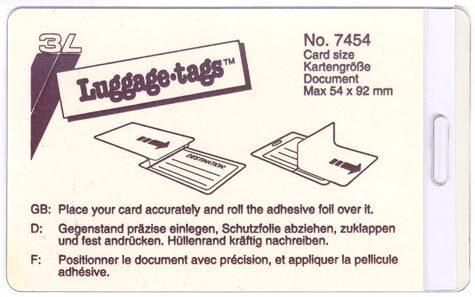 gbc Luggage Tags 3L, Portacartellino plastificante a freddo per bagaglio con asola mm 65x108, ideali per cartoncini formato 54x92mm.  Con asola e cinghiolo di fissaggio.