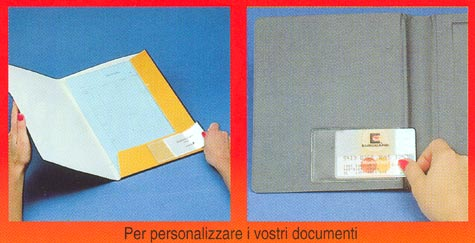gbc Portabiglietti da visita adesivo 60x95mm Business Card Pocket. In vinile trasparente, apertura sul lato corto.