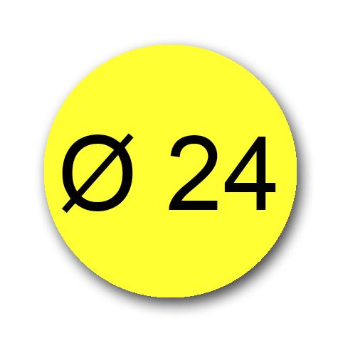 wereinaristea Bollini autoadesivi, GIALLO, diametro mm 24 in foglietti formato A5 (148x210mm), 40 etichette per foglio.