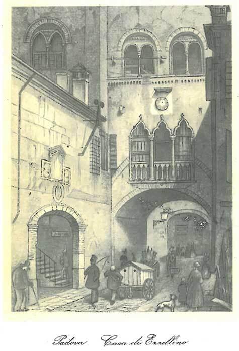 gbc Padova, Casa di Ezzelino Biglietto in cartoncino pregiato piegato sul lato lungo. Dimensioni chiuso: 11x14,5cm. Dimensioni aperto: 22x14,5cm. Stampa artistica.