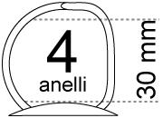 legatoria Meccanismo a -D- a 4 anelli. contiene fino a 30mm A PIASTRA. Lunghezza totale del meccanismo 285mm, interasse degli anelli 80mm, capacità degli anelli 30mm, interasse fori di fissaggio 275mm, diametro dei fori 4,2mm, larghezza della base 26mm, larghezza totale 35mm, altezza totale 42mm, diametro filo 3,9mm.