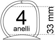 legatoria Meccanismo a -D- a 4 anelli. contiene fino a 33mm A PIASTRA. Lunghezza totale del meccanismo 285mm, interasse degli anelli 80mm, capacità degli anelli 33mm, interasse fori di fissaggio 275mm, diametro dei fori 4,2mm, larghezza della base 26mm, larghezza totale 37mm, altezza totale 45mm, diametro filo 3,9mm.