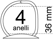legatoria Meccanismo a -D- a 4 anelli. contiene fino a 36mm A PIASTRA. Lunghezza totale del meccanismo 285mm, interasse degli anelli 80mm, capacità degli anelli 36mm, interasse fori di fissaggio 275mm, diametro dei fori 4,2mm, larghezza della base 26mm, larghezza totale 40mm, altezza totale 47mm, diametro filo 3,9mm.