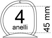 legatoria Meccanismo a -D- a 4 anelli. contiene fino a 45mm A PIASTRA. Lunghezza totale del meccanismo 285mm, interasse degli anelli 80mm, capacità degli anelli 45mm, interasse fori di fissaggio 275mm, diametro dei fori 4,2mm, larghezza della base 26mm, larghezza totale 44mm, altezza totale 58mm, diametro filo 4,4mm.