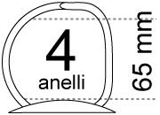 legatoria Meccanismo a -D- a 4 anelli. contiene fino a 65mm A PIASTRA. Lunghezza totale del meccanismo 299mm, interasse degli anelli 80mm, capacità degli anelli 65mm, interasse fori di fissaggio 290mm, diametro dei fori 4,2mm, larghezza della base 36mm, larghezza totale 60mm, altezza totale 82mm, diametro filo 5,4mm.