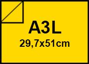 carta CartaLiscia Zanders. GIALLO. 125gr. a3l per rilegatura, cartonaggio, formato a3l (29,7x50cm), 125 grammi x mq.