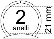 legatoria Meccanismo rotondo a 2 anelli, contiene fino a 21mm A PIASTRA. Lunghezza totale del meccanismo 114mm, interasse degli anelli 64mm, capacità degli anelli 21mm,  interasse fori di fissaggio 105mm, diametro dei fori 4,2mm, larghezza della base 20mm, larghezza totale 28mm, altezza totale 28mm, diametro filo 2,9mm ***.