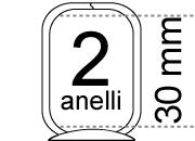 legatoria Meccanismo rettangolare a 2 anelli, contiene fino a 30mm A PIASTRA. Lunghezza totale del meccanismo 133mm, interasse degli anelli 80mm, capacità degli anelli 30mm, interasse fori di fissaggio 122mm, diametro dei fori 4,2mm, larghezza della base 26mm, larghezza totale 30mm, altezza totale 42mm, Diametro filo 3,9mm.