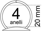 legatoria Meccanismo rotondo a 4 anelli, contiene fino a 20mm A PIASTRA. Lunghezza totale del meccanismo 373mm, interasse degli anelli 89mm, capacità degli anelli 20mm, diametro dei fori 4,2mm, larghezza della base 42mm, larghezza totale 42mm, altezza totale 40mm, Diametro filo 4mm.