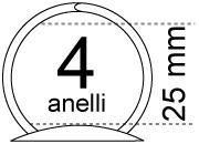 legatoria Meccanismo rotondo a 4 anelli, contiene fino a 25mm Lunghezza totale del meccanismo 347mm, interasse degli anelli 80mm, capacità degli anelli 25mm, diametro dei fori 4,2mm, larghezza della base 42mm, larghezza totale 42mm, altezza totale 43mm, diametro filo 3,9mm.