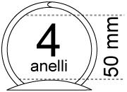 legatoria Meccanismo a mezzaluna 4 anelli, contiene fino a 50mm A MEZZALUNA. Lunghezza totale del meccanismo 322mm, interasse degli anelli 20mm, 70mm, 20mm, capacità degli anelli 50mm, larghezza totale 60mm, altezza totale 40mm, diametro filo 4,7mm. La leva di sblocco consente l'apertura e la chiusura parziale o totale del meccanismo.