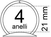 legatoria Meccanismo rotondo a 4 anelli, contiene fino a 21mm A SERPENTINA. Lunghezza totale del meccanismo 291mm, interasse degli anelli 80mm, capacità degli anelli 21mm, interasse fori di fissaggio 281mm, diametro dei fori 4,2mm, larghezza della base 19mm, larghezza totale 30mm, altezza totale 30mm, diametro filo 3,3m.