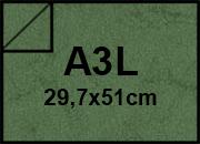 carta Cartoncino Pelle Elefante Zanders Verde Scuro, formato A3L (29.7x50cm), 110grammi x mq.