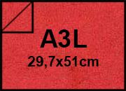 carta Cartoncino Pelle Elefante Zanders Rosso, formato A3L (29,7x50cm), 110grammi x mq.