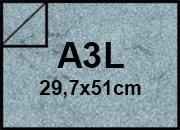 carta Cartoncino Pelle Elefante Zanders BluChiaro, formato A3L (29,7x52cm), 110grammi x mq.