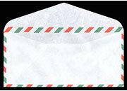 carta Buste per posta aerea 11x23cm Busta bianca gommata in carta leggera con bordatura tricolore: bianco, rosso, verde.