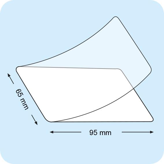 legatoria Pouches. bustine plastificanti. 65x95mm TRASPARENTE lucido,250 micron per lato, saldate sul lato corto, angoli arrotondati, in polietilene, per cartoncini 59x89mm, plastificazione a caldo.