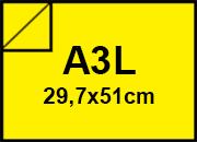 carta Cartoncino Sirio Fedrigoni (UsoMano Colorato) Giallo Limone, formato A3L (29,7x50cm), 115grammi x mq.