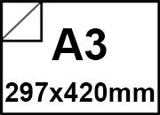 carta Carta adesiva patinata semilucida SEMIGLOSS Bianco, formato A3 (29,7x42cm), 80grammi x mq, retro 80grammi x mq.