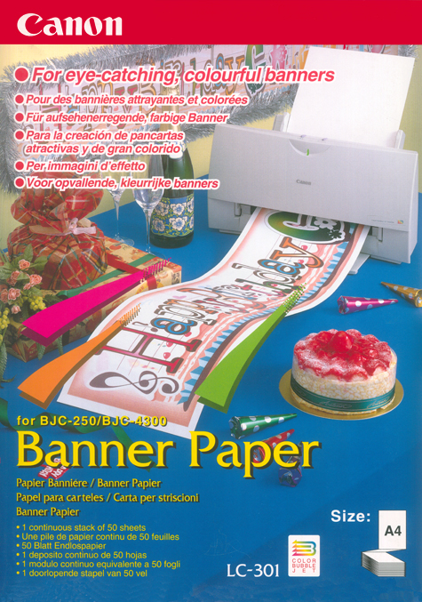 gbc Banner Paper Canon per i vostri striscioni personali equivalente a 50 fogli A4 (15 metri) di carta Canon ink-jet per stampanti bjc-250-Bjc-4300 per immagini d'effetto.