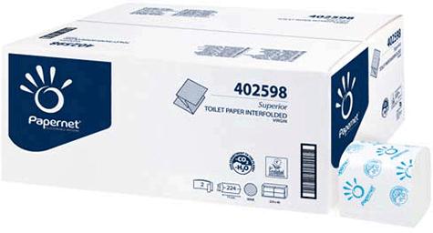 carta Carta igienica interfogliata qualità superior, 2 veli, goffratura wave, altezza 21cm, lunghezza 11cm, 224 strappi.