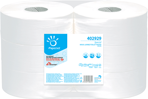 carta Carta igienica in rotolo jumbo maxi qualità special, 2 veli, goffratura no, altezza 9,5cm, lunghezza 30,5cm, diametro 26,7cm, 1218 strappi.
