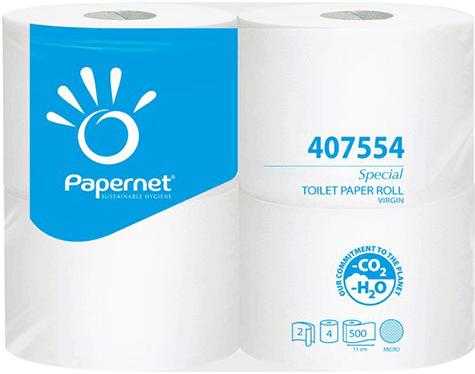 carta Carta igienica in rotolo normale qualità special, 2 veli, goffratura lily, altezza 9,5cm, lunghezza 11cm, diametro 13cm, 500 strappi.