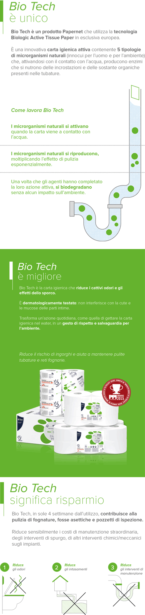 carta Carta igienica in fogli pretagliati  Bio-Tech qualità superior, 2 veli, goffratura wave, altezza 21cm, lunghezza strappo 11cm, diametro cm, 224 strappi.