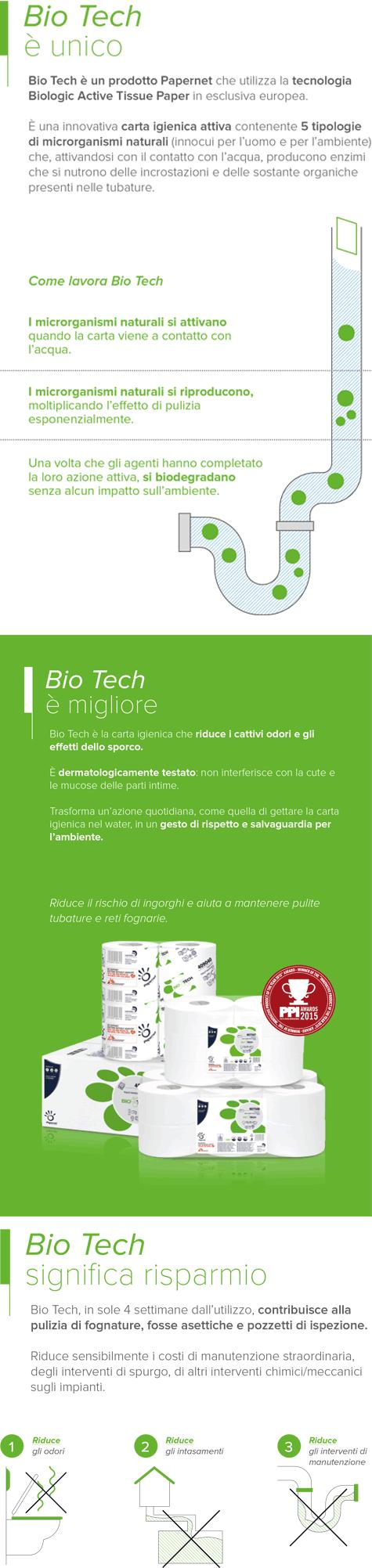 carta Carta igienica in rotolo fascettato  Bio-Tech qualità superior, 2 veli, goffratura micro, altezza 9,5cm, lunghezza 11cm, diametro 10cm, 165 strappi.