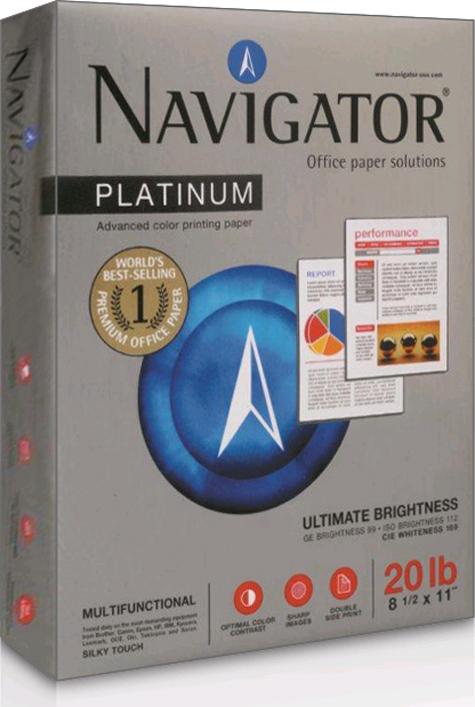 carta Carta per fotocopie NAVIGATOR, 80 grammi,  formato A3 Americano Tabloid (279x432mm) Bianco ISO 169, Spessore 105:1000, Opacità 93, Grado di liscio 180.