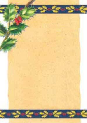 carta Carta personaizzata con cornice -golden holly- per stampanti laser & inkjet. Formato a4 (21x29,7 cm), 95gr x mq, personalizzata a tema.
