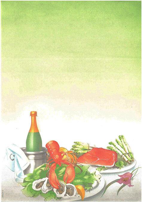 carta Carta personalizzata con soggetto -menu- per stampanti laser & inkjet. Formato a4 (21x29,7 cm), 95gr x mq, personalizzata a tema.