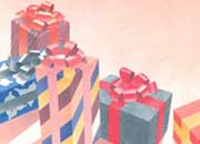 carta Carta personalizzata con soggetto -gifts- per stampanti laser & inkjet. Formato a4 (21x29,7 cm), 95gr x mq, personalizzata a tema.