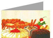 decadry Formato A4, desserts, 135gr laser & inkjet. Piegati in 2, desserts.