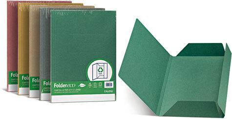 carta Folder ECO 3 Lembi 180,  100% RICICLATO formato BC (24,5X34,5cm), 180gr. Una linea di cartelline a 3 lembi in cartoncino ecologico riciclato al 100%.
