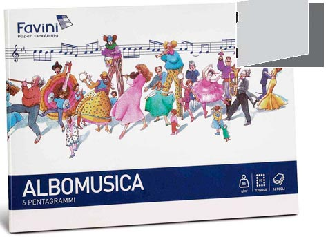 carta ALBOMUSICA 85 formato D5 (17x24cm), 85gr, 16 fogli.