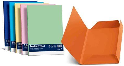 carta Folder Cartellina 3Lembi Acqua200, Bianco01 formato BC (24,5X34,5cm), 200gr, 25 cartelline.