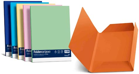 carta Folder Cartellina 3Lembi Acqua200, Camoscio02 formato BC (24,5X34,5cm), 200gr, 25 cartelline.