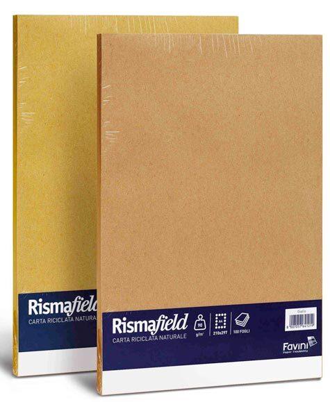 carta Carta Riciclata RISMAFIELD 90, GIALLO formato A4 (21X29,7cm), 90gr, 100 fogli.