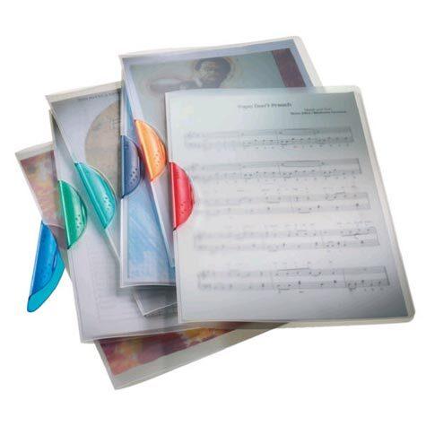 acco Cartellina Design Clip cartellina in polipropilene trasparente completamente apribile con Clip di colore ARGENTO-VERDE, Clip innovativa con l'estremità superiore fissa. Può contenere sino a 30 fogli formato A4 141-09L.