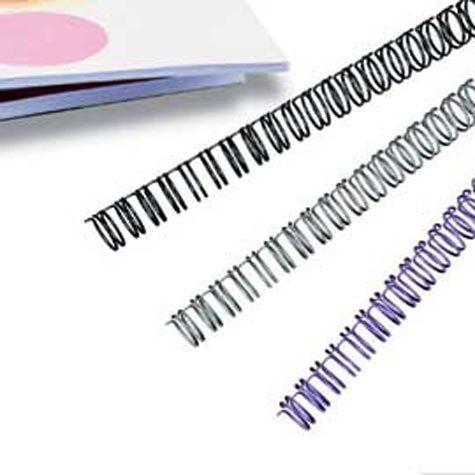 gbc Dorsi metallici per rilegatura a spirale WireBind Passo 3:1 (34 anelli). Formato: A4. Dorso: 9,5mm. Capacità: 85 fogli. Colore: argento. .