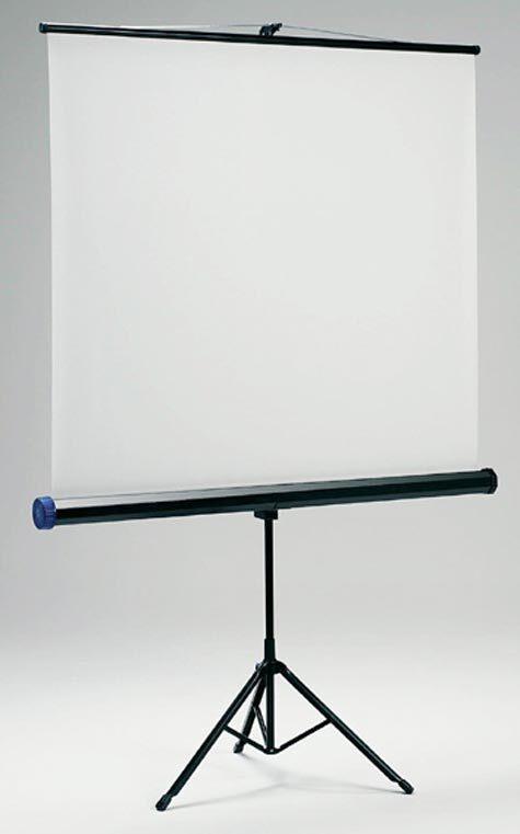acco Schermo a Treppiede Standard 125x125cm Superficie di proiezione bianco opaco. Il retro del telo é in colore nero. Tensionatore per una superficie dello schermo sempre liscia. Braccio superiore per impostare lo schermo ad un'angolazione idonea a correggere l'effetto di distorsione trapezoidale.