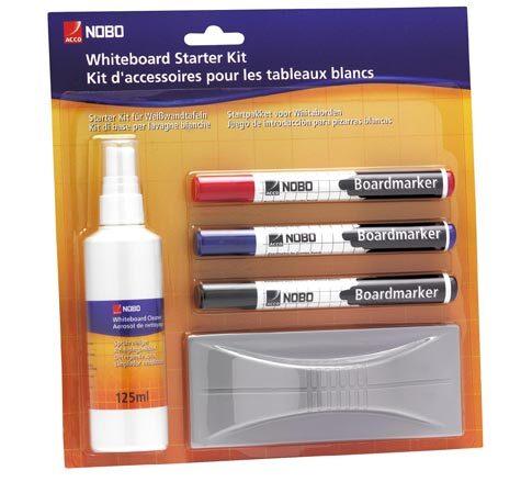 acco Kit di base NOBO per lavagne bianche Tutto ciò che occorre per la vostra lavagna bianca: 1 detergente spray da 125ml, 1 cancellino e 3 pennarelli Nobo Whiteboard Marker cancellabili a secco. 1 NERO, 1 BLU, 1 ROSSO.  79-09.