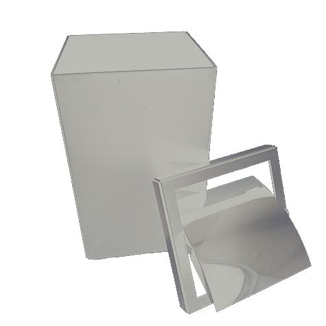 gbc Kartell, Linea Segmenti, Cestino quadrato con top, bianco mm250x250 h456, Design Michele de Lucchi.