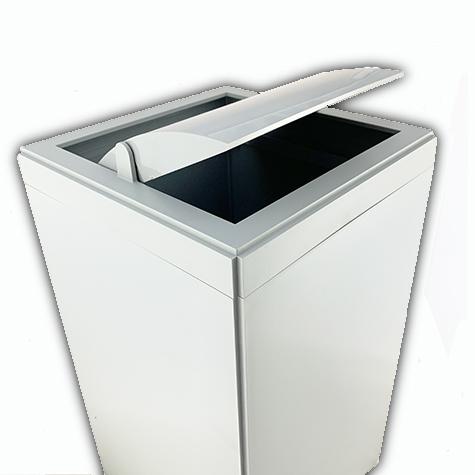 gbc Kartell, Linea Segmenti, Cestino quadrato con top, grigio mm250x250 h456, Design Michele de Lucchi.