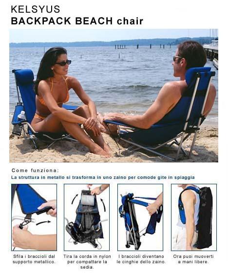 kelsyus Kelsyus CHAIR con PORTARIVISTE Sedia a sdraio trasformabile in zaino + retina portariviste sotto al sedile e cuffia di chiusura. La sedia non è fornita con la cupola ombreggiante.