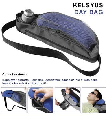 kelsyus Kelsyus DAY BAG Borsa monospalla con cuscino gonfiabile e portabevande termico, colore AZZURRO.
