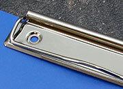 legatoria Molletta ferma carta 120x30mm NICHELATA, contiene fino a 100 fogli (10mm), interasse rivetti 87mm. rivetti non inclusi.