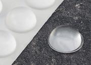 legatoria Paracolpi in gomma autoadesivo, diametro 19mm TRASPARENTE, a disco semisferico, spessore 9.5mm, adesivo permanente*.