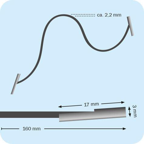 legatoria Elastico con 2 capicorda, lunghezza 160mm BLU SCURO, lunghezza 160mm (compresi i 2 capicorda), elastico a sezione tonda rivestito in tessuto, spessore 2,2mm.